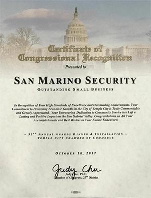 Certifcate of Congressional Recognition - Presented to San Marino Security - Outstanding Small Business