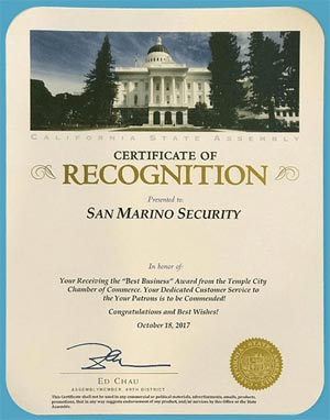 Certifcate of Recognition - Presented to San Marino Security
