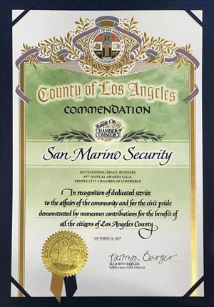 Country of Los Angeles - Commendation - Temple City Chamber of Commerce